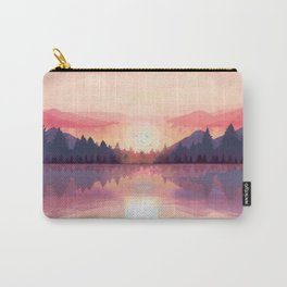 Morning Sunshine over the Peaceful Mountain Lake Carry-All Pouch