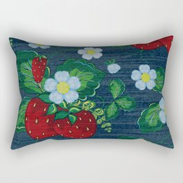 Strawberries and Daisies - Strawberry Patch  - Fruit Rectangular Pillow