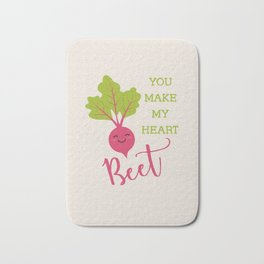 You make my heart beet Typography with cute beetroot illustration for valentine's day card... Bath Mat