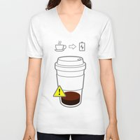 coffe V-neck T-shirts featuring Warning coffe low by Komrod