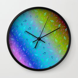 colorful blue music notes abstract, art, artistic, background, bass, beautiful, classical, clef, cre Wall Clock
