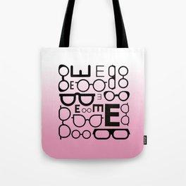 Eye Chart Eyeglasses Pink and Black Tote Bag