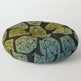 d20 dice pattern - yellow and blue gradient over black - icosahedron Floor Pillow