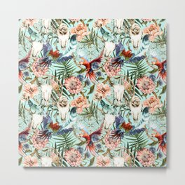 Pattern tropical boho skull Metal Print