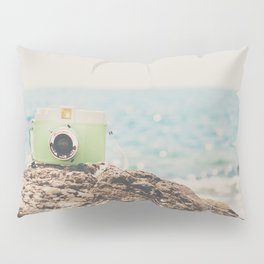 "the ""dreamer"", a mint green camera with the ocean behind it Pillow Sham"