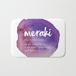 Meraki Word Nerd Definition - Purple Watercolor Bath Mat