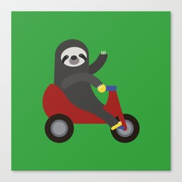 Sloth on Tricycle Canvas Print
