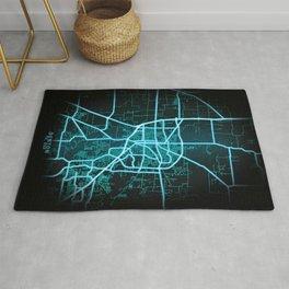 Denton, TX, USA, Blue, White, Neon, Glow, City, Map Rug