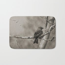 The Quest:  Black and White Bird Antiqued Bath Mat