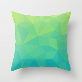 Abstract Geometric Gradient Pattern between Soft Green and Strong Cyan Throw Pillow
