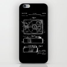 Turntable Patent - White on Black iPhone & iPod Skin