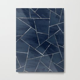 Midnight Navy Blue Ink Silver Geometric Glam #1 #geo #decor #art #society6 Metal Print