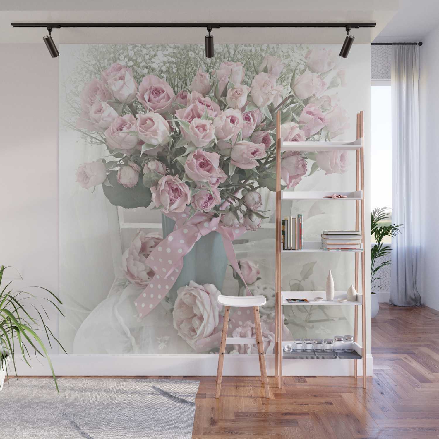 Pastel Roses In Vase   Shabby Chic Roses Pink Aqua Floral Print Home Decor  Wall Mural