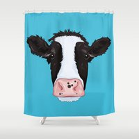 cow Shower Curtains featuring Cow by Compassion Collective