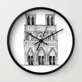 Notre Dame Sketch Wall Clock