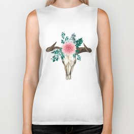 Bohemian bull skull and antlers with flowers Biker Tank