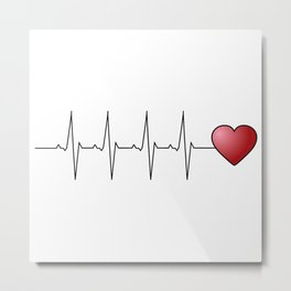 Minimalistic love heart beat design Metal Print