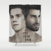 stiles stilinski Shower Curtains featuring LoseYourMind - Stiles Stilinski / Derek Hale ( Sterek - Teen Wolf ) by Caim Thomas