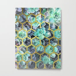 Succulent Geometric Modern Illustration Metal Print