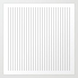 Dove Grey Pin Stripes on White Art Print