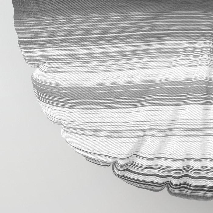 Black White Gray Thin Stripes Floor Pillow