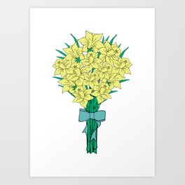 Bouquet of yellow narcissi Art Print
