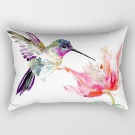 Little Hummingbird and Pink Flower, Bird art, minimalist bird painting, soft pink olive green design Rectangular Pillow