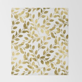 Gold Leaves on White Throw Blanket