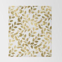 Gold Leaves on White Throw Blanket