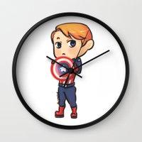 steve rogers Wall Clocks featuring little Steve by Johanna Stark