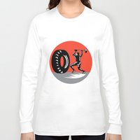 workout Long Sleeve T-shirts featuring Tire Sledgehammer Workout Woodcut by patrimonio