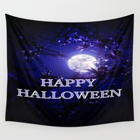 halloween Wall Tapestries featuring HALLOWEEN by WhimsyRomance&Fun