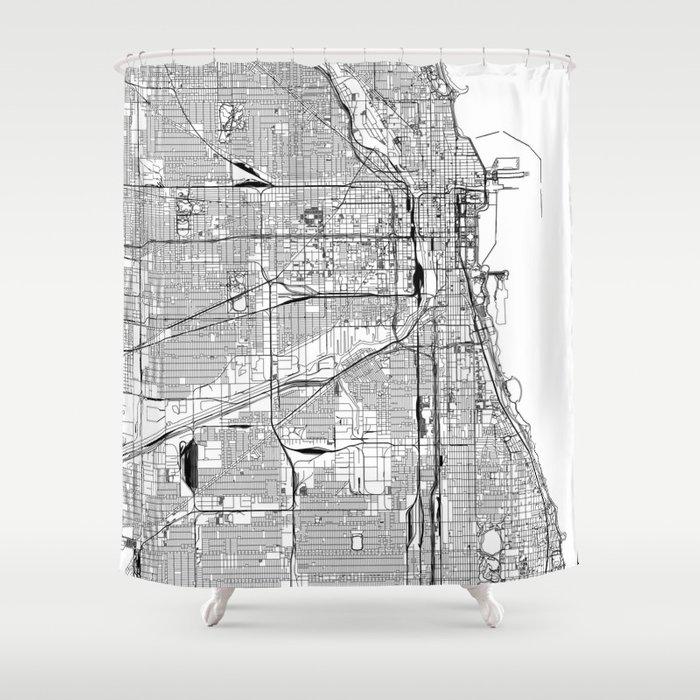 Chicago White Map Shower Curtain By Multiplicity