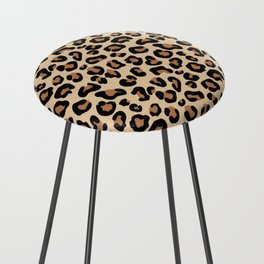 Leopard Print, Black, Brown, Rust and Tan Counter Stool