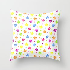 Cute retro hen and flowers Throw Pillow