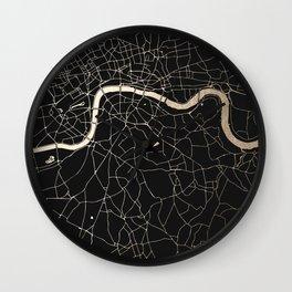 London Black on Gold Street Map II Wall Clock