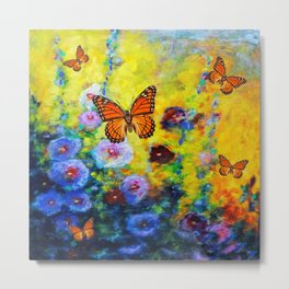 MONARCH BUTTERFLIES HOLLYHOCK YELLOW ART Metal Print