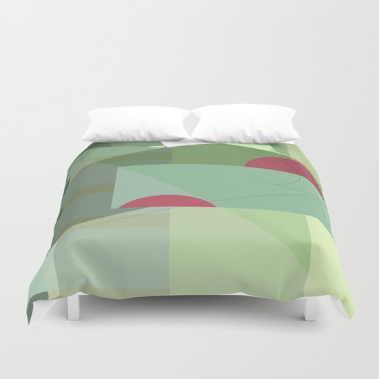 Geometric abstract green No. 1 Duvet Cover