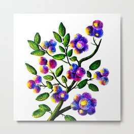 Blue Pink Yelow Flower Branch Clip Art Metal Print