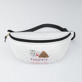 Poop and toilet tissue couple on valentines day Fanny Pack