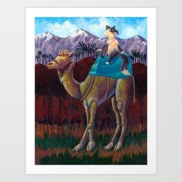 Cat on a Camel Art Print