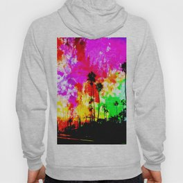 palm tree at the California beach with colorful painting abstract background Hoody