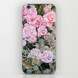A LIFE TIME COMMITMENT - Pink Rose And Anthurium - Original Fine Art Floral painting by HSIN LIN iPhone Skin