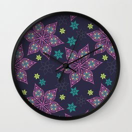 christmas flowers pattern Wall Clock