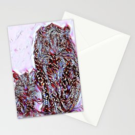 Big Cat Models: Magnified Snow Leopard and Cub 01-02 Stationery Cards