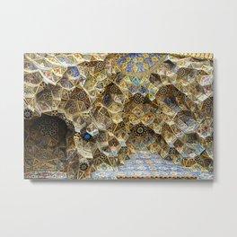 Persian Art Nasir-al-Molk Mosque Tile Mosaic Ceiling, Shiraz Metal Print