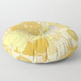 Yellow, Ivory & Brown Retro Floral Pattern Floor Pillow