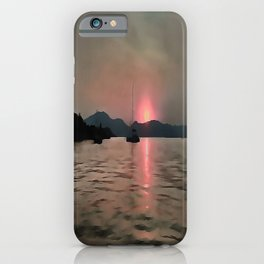 Sunset Shores In Pink And Grey iPhone Case