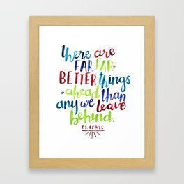 cs lewis quote (lime, red, teal, indigo) Framed Art Print