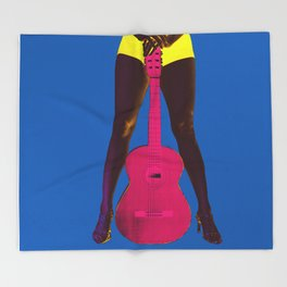 Guitar girl rocks! b Throw Blanket